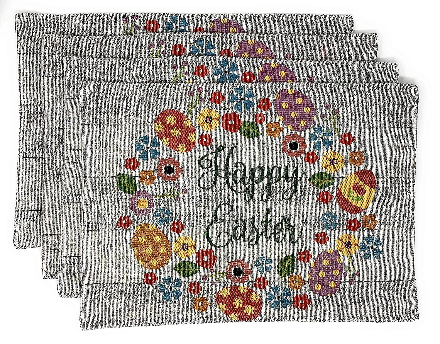 Happy Easter Glitter Flowers /& Eggs Set of 4 Windham Home Easter Tapestry Fabric Placemats
