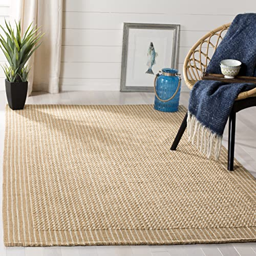Safavieh Natural Fiber Collection NF449A St Lucia Loop Ivory and Beige Sisal Area Rug 4 x 6
