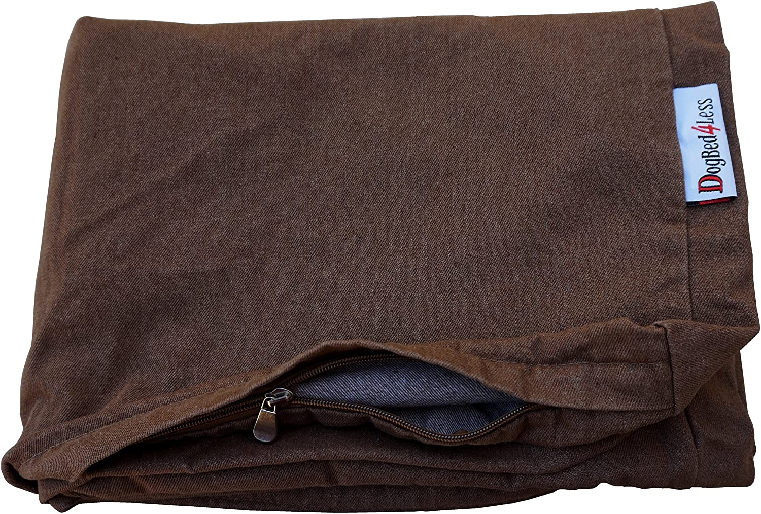 Dogbed4less 55X37X4 Inches Brown Color Denim Jean Dog Pet Bed External Zipper Cover - Replacement Cover only : Pet Supplies