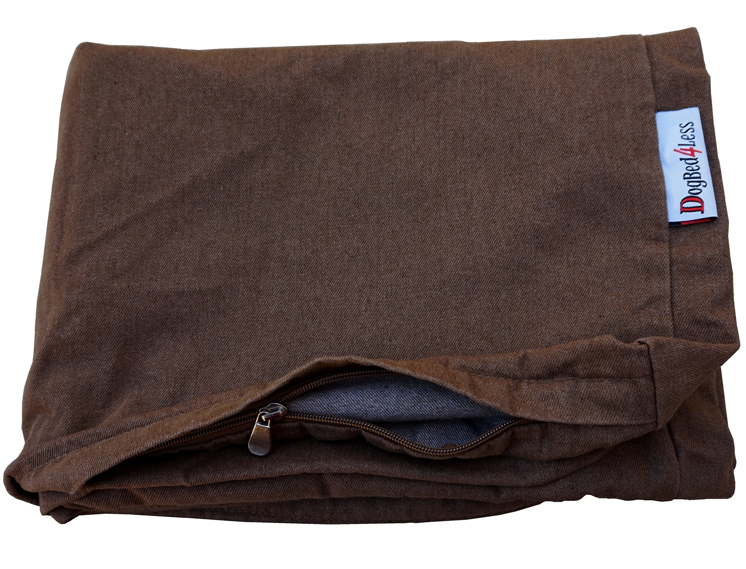 Dogbed4less 37X27X4 Inches size Brown Color Denim Jean Dog Pet Bed External zipper Cover - Replacement cover only