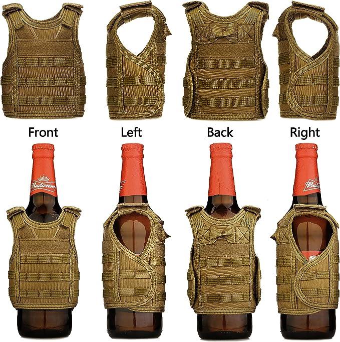 Mini T/áctica Militar Tapa de la Botella Chaleco Decoraci/ón de Botellas para Cerveza Soda Botella Tapa Chaleco para Botellas