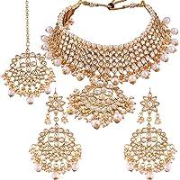 I Jewels Traditional Kundan & Pearl Choker Necklace Set for Women (K7058W)