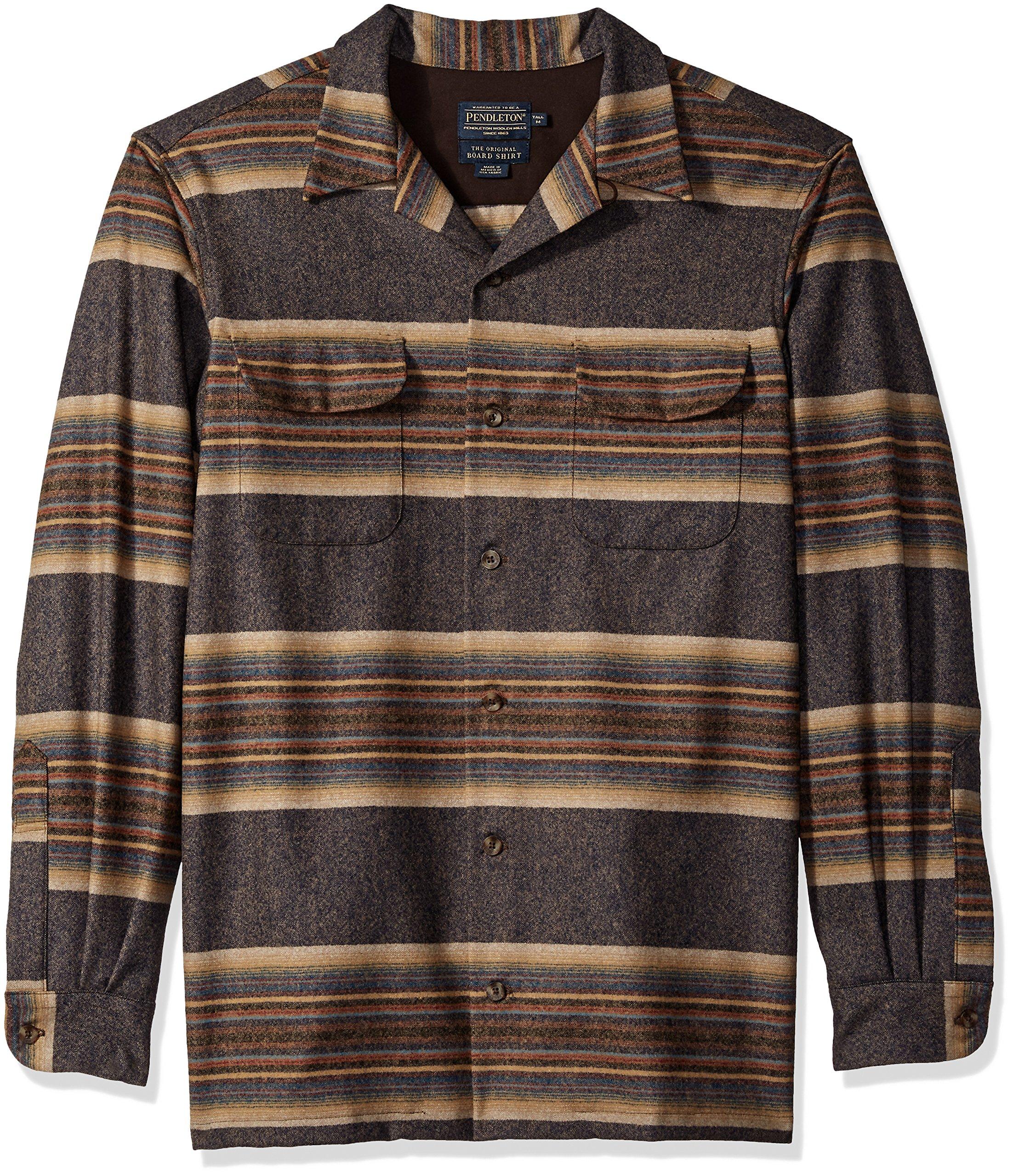 Pendleton Men's Tall Size Big & Tall Long Sleeve Board Shirt, Navy/tan/Blue Stripe XL