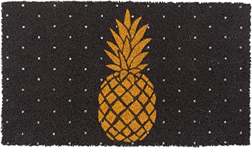 New KAF Home Coir Doormat with Heavy-Duty, Weather Resistant, Non-Slip PVC Backing 17 by 30 Inches, 0.6 Inch Pile Height Perfect for Indoor and Outdoor Use Pineapple