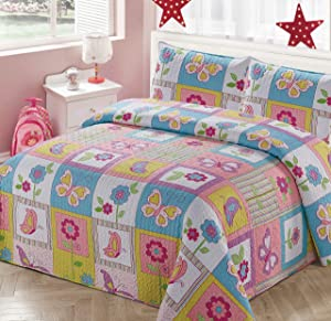 Kids Zone Home Linen 2pc Twin Bedspread Coverlet Quilt Set for Girls Patchwork Butterfly Flowers White Purple Blue Green Pink