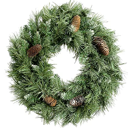 large scandinavian blue spruce christmas wreath decoration with pine cones size 17ft 50cm - Decorating Large Pine Cones For Christmas