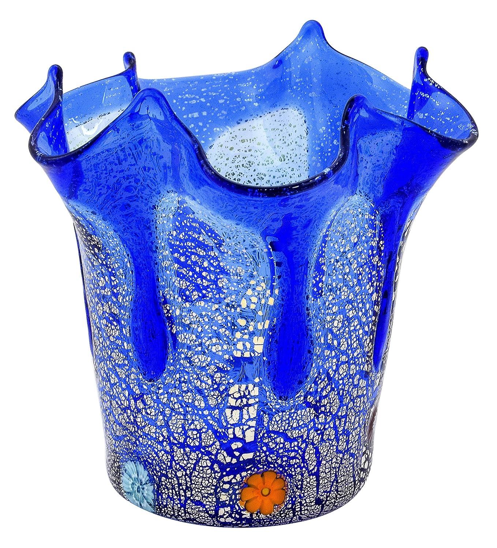 Boteghe - Real Made in  FAZZOLETTO GOCCIA Muranoglas Blattsilber 925 Murrine Vase Venedig Handarbeit