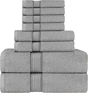 Utopia Towels Cool Grey, Towel Set, 2 Bath Towels, 2 Hand Towels, and 4 Washcloths, 600 GSM Ring Spun Cotton Highly Absorbent Towels for Bathroom, Shower Towel, (Pack of 8)