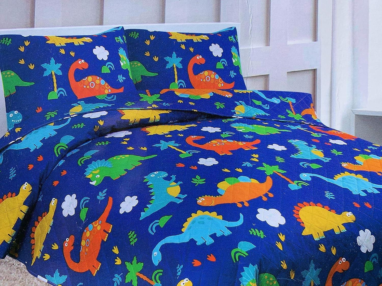 Dinosaur Print Blue Green Boys Kids Bedding Set Superior Home 2 Piece Twin Size Kids Boys Teens Bedspread Coverlet Quilt Set with Sham Twin Bedspread Dinosaur