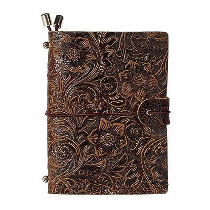 Diario de Viaje Recargables, UBaymax Bloc de Notas Cuaderno de Viaje Cubierta de Cuero Cuaderno Notas-S-Tamaño: 5,1 x 3,54 inch (Repujado Marrón)