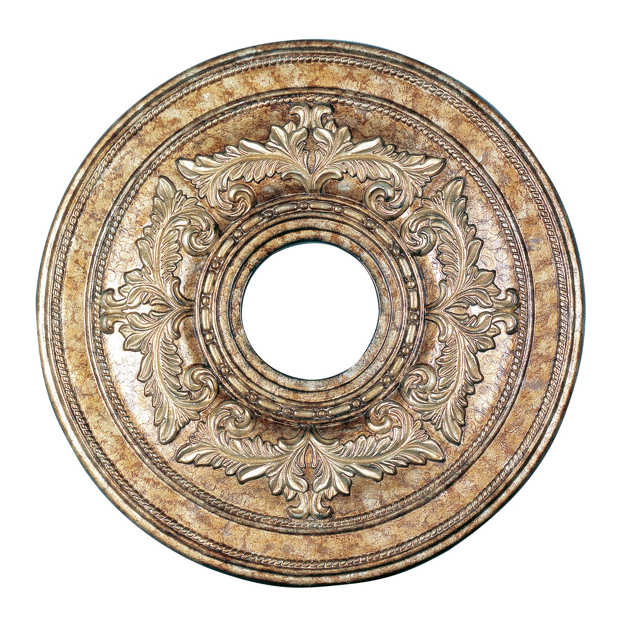 Livex Lighting 8205-65 Ceiling Medallion, Hand Painted Vintage Gold Leaf