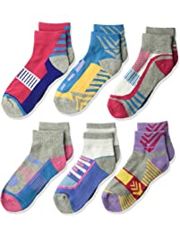 Jefferies Socks girls Tech Sport Quarter Half Cushion Socks 6 Pair Pack Socks