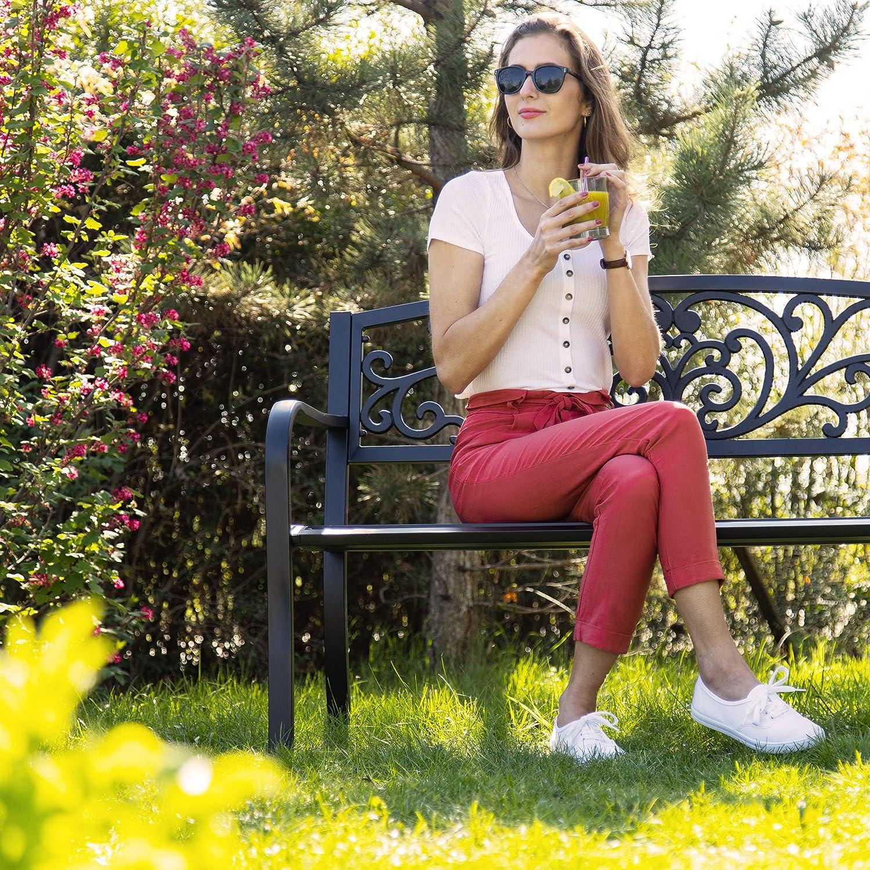 bequemer 2-Sitzer HxBxT 86,5 x 127 x 60 cm Relaxdays Gartenbank mit Vintage-Ornamenten f/ür Terrasse schwarz Balkon