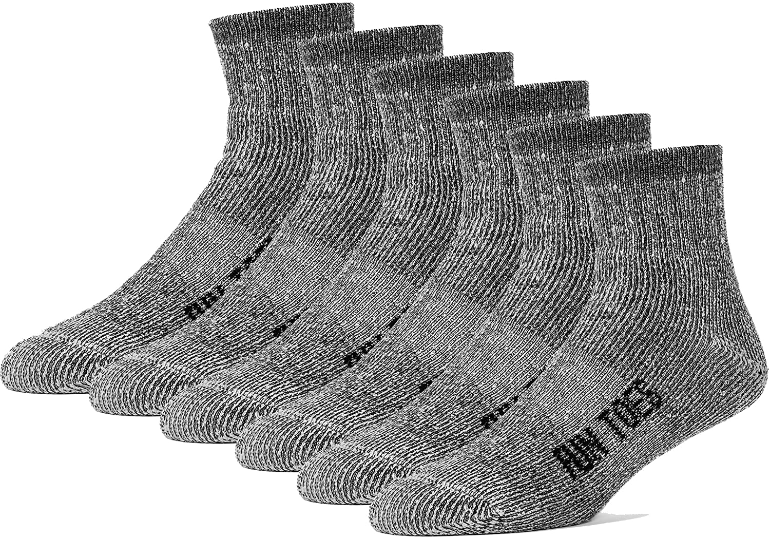 FUN TOES Merino Wool Ankle Socks Pack of 6 Arch Support and Cushioning Heel to Toe Reinforcement Ideal for Hiking