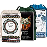 Coloring-On-The-Go Coloring Books Set for Adult & Grownups –222 HR Coloring Pages W/ Durable Designed Pouch & Hardcover Spiral Bound Format- Portable DIY Craft Creative Kit - Be Creative Everywhere!