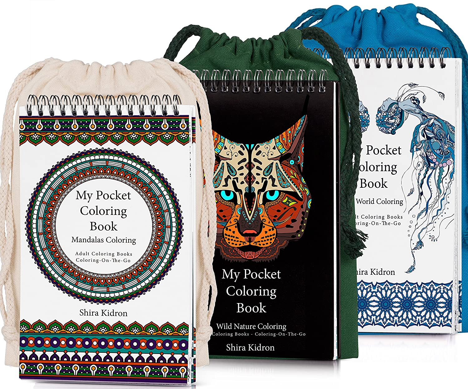 Coloring-On-The-Go Adult Coloring Books –74 Sea World Coloring Pages W/Durable Designed Pouch & Hardcover Spiral Bound Format-Deluxe Portable for Grownups, DIY Creative Kit -Be Creative Everywhere! Klementine's World