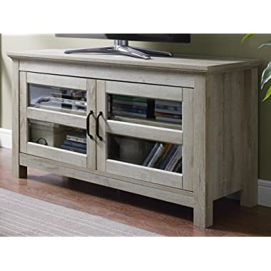 WE Furniture 44  Wood TV Media Stand Storage Console - White Oak