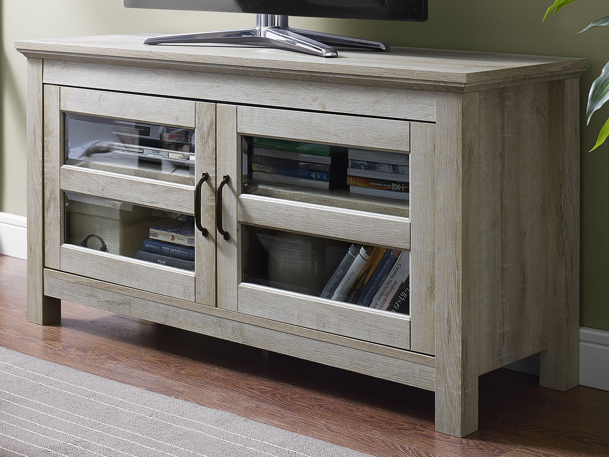 WE Furniture 44'' Wood TV Media Stand Storage Console - White Oak