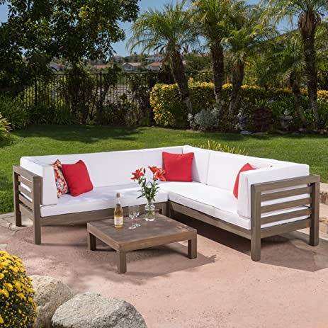 Ravello Outdoor Patio Furniture 4 Piece Wooden Sectional Sofa Set W/ Water  Resistant Cushions (