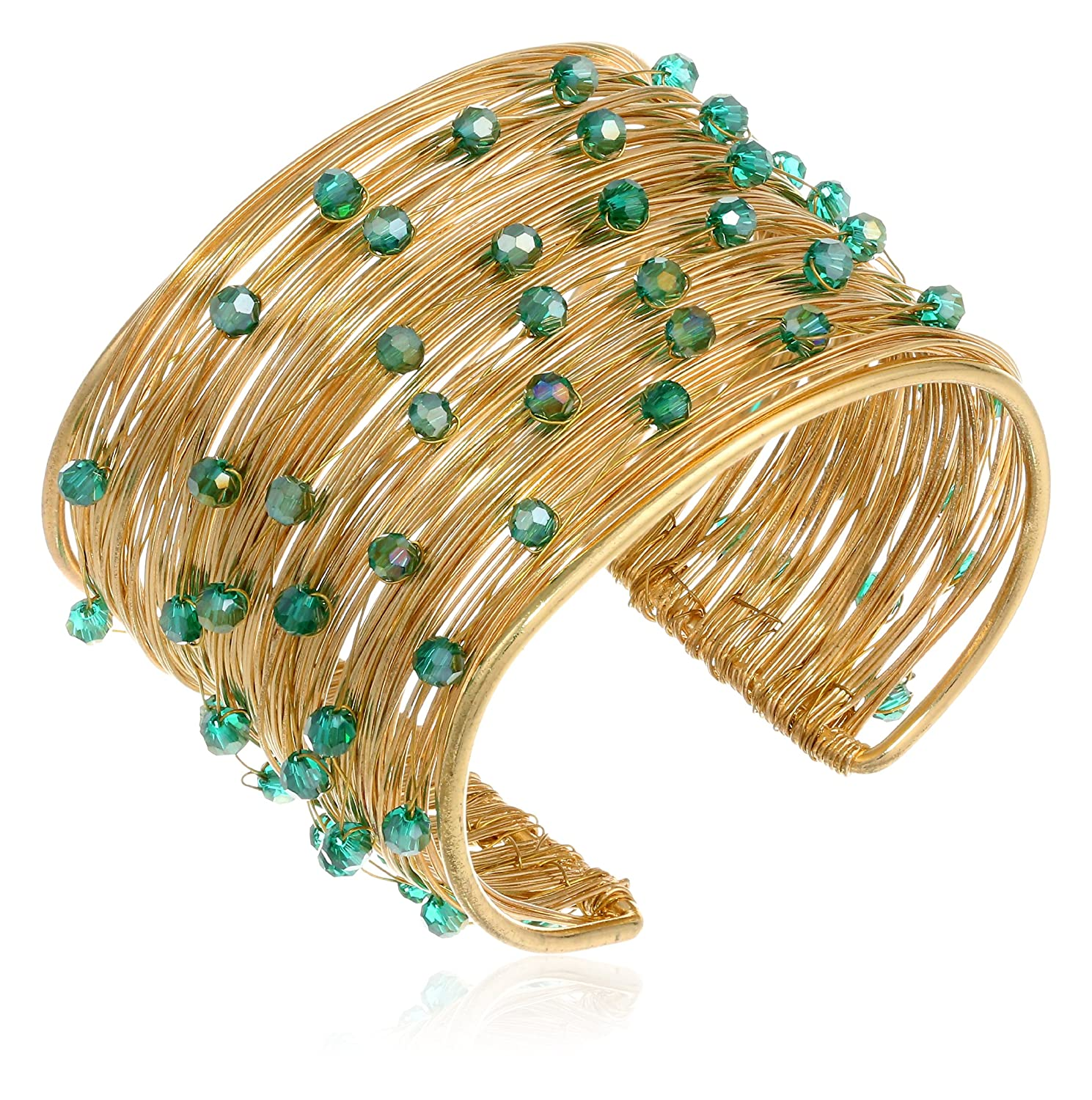 Amazoncom Panacea Green Crystal Flexible Wire Gold Cuff Bracelet