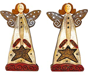 "S/2 Angel Statue Figurines Wooden Christmas Decor Shelf Fireplace Rustic Holiday Ornaments 10"" H"