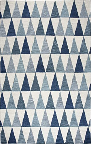 Rizzy Home Lancaster Collection Wool Area Rug, 9 x 12 , Ivory Blue Geometric