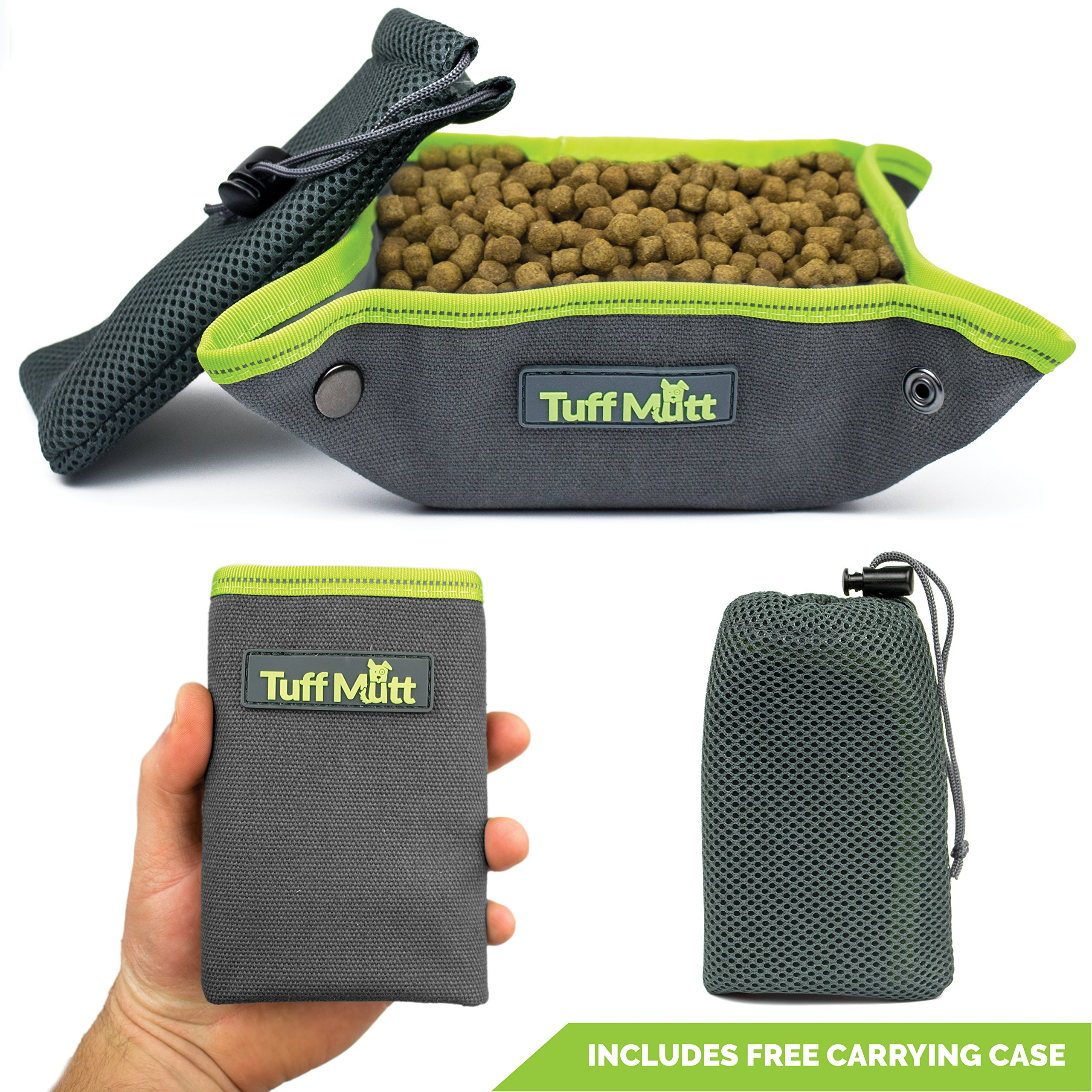 Tuff Mutt Collapsible Canvas Dog Bowl, Portable for Easy Travel, Foldable and Pocket Size for Running, Walking, Hiking, Camping, Waterproof Lining holds Food and Water, Reflective Trim, Dogs