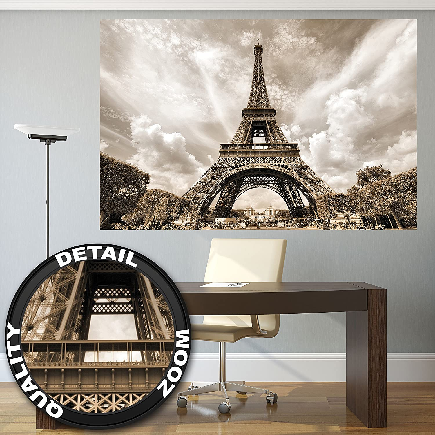 Low cost poster eiffel tower mural decoration france for Salon sur paris