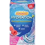 Emergen-C Hydration+ (18 Count, Raspberry Splash Flavor) Sports Drink Mix with Vitamin C, Electrolyte Replenishment, 0.33 Ounce Packets