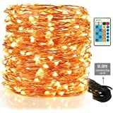 Moobibear LED Decorative Fairy String Lights 99ft 300 LEDs Dimmable Outdoor/Indoor Starry String Lights, Warm White Copper Lights with Remote Control for Garden Room Patio Party Christmas