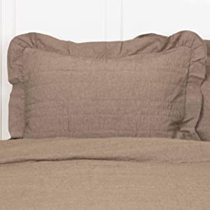 """Piper Classics Ruffled Chambray Taupe-Grey Standard Sham, 21"""" x 27"""", Quilted Bed Pillow Cover, Farmhouse Style Bedding"""