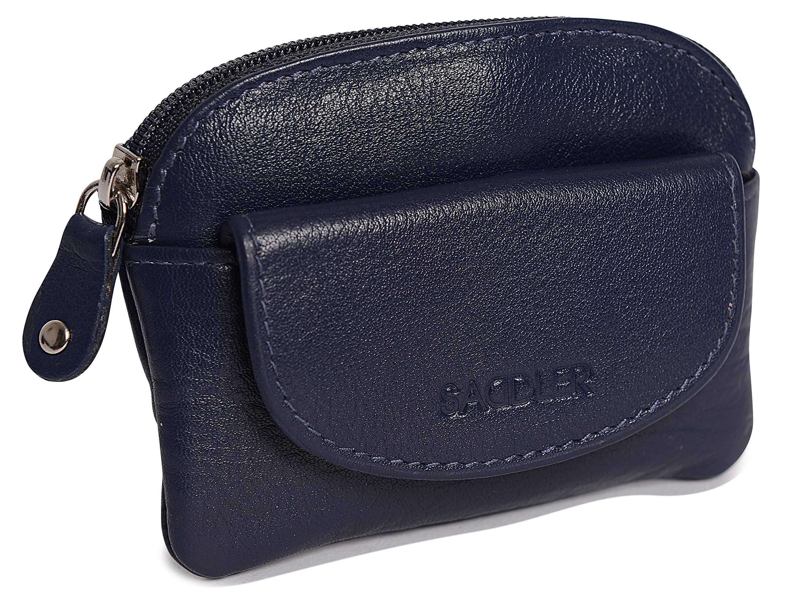 SADDLER Womens Leather Zip Top Coins Key Purse Front Flap Pocket - Peacoat Blue