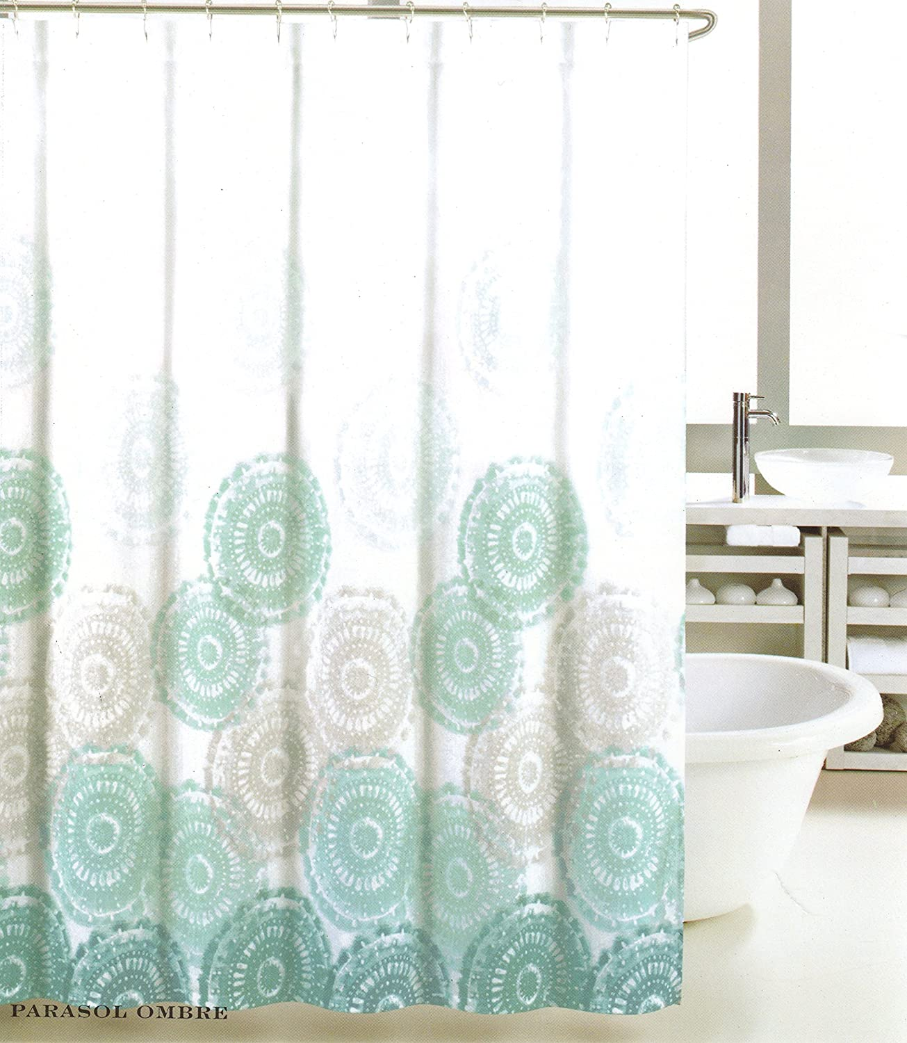 Cynthia rowley medallion shower curtain - Amazon Com Max Studio Home Cotton Shower Curtain Sea Medallion Grey Teal Turquoise And White Ombre 72 Inch By 72 Inch Home Kitchen