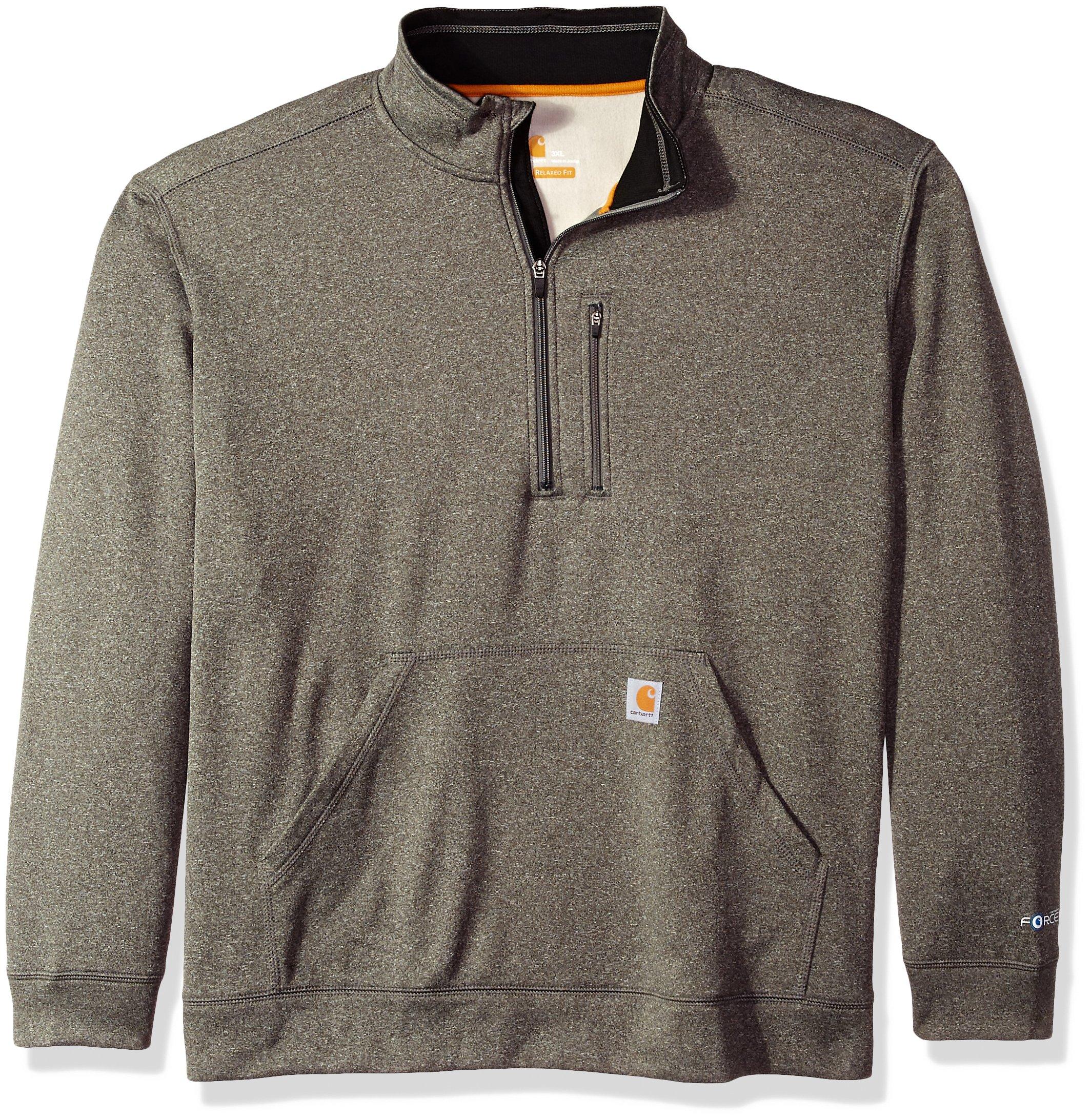 Carhartt Men's Force Extremes Mock-Neck Half-Zip Sweatshirt (Regular and Big & Tall Sizes), Granite Heather, 3X-Large