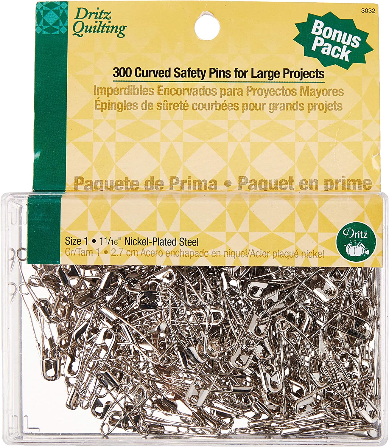 iNee Curved Safety Pins for Quilting 300 Count Size 1 Nickel-Plated Steel