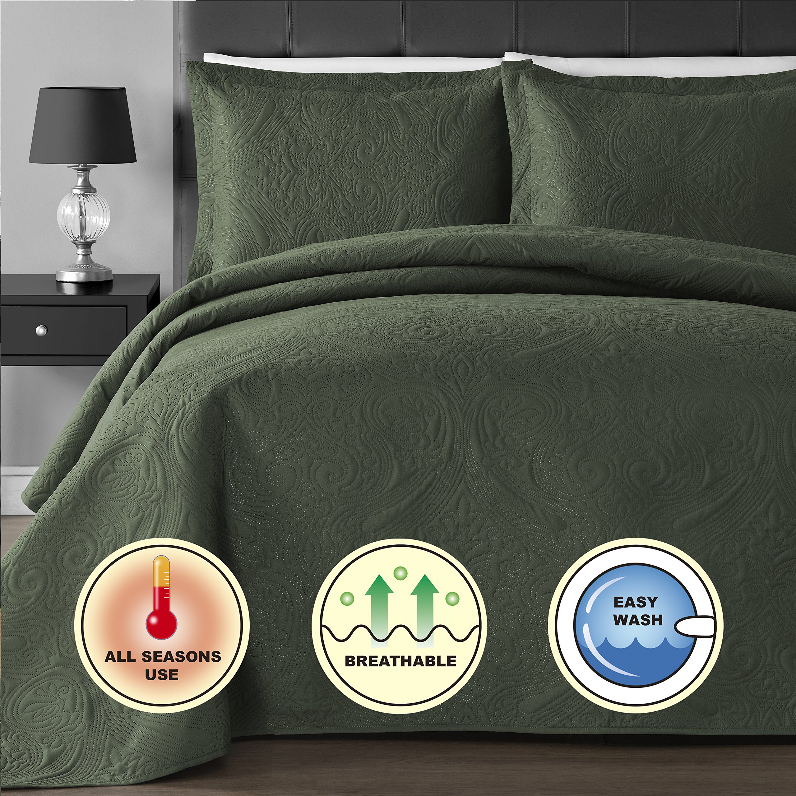 Comfy Bedding Extra Lightweight and Oversized Thermal Pressing Floral 3-Piece Coverlet Set (King/Cal King, Sage) by Comfy Bedding (Image #3)