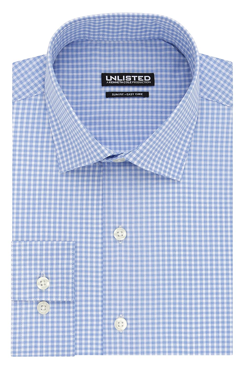 Kenneth Cole Unlisted Men's Slim Fit Check Spread Collar Dress Shirt 32LG051