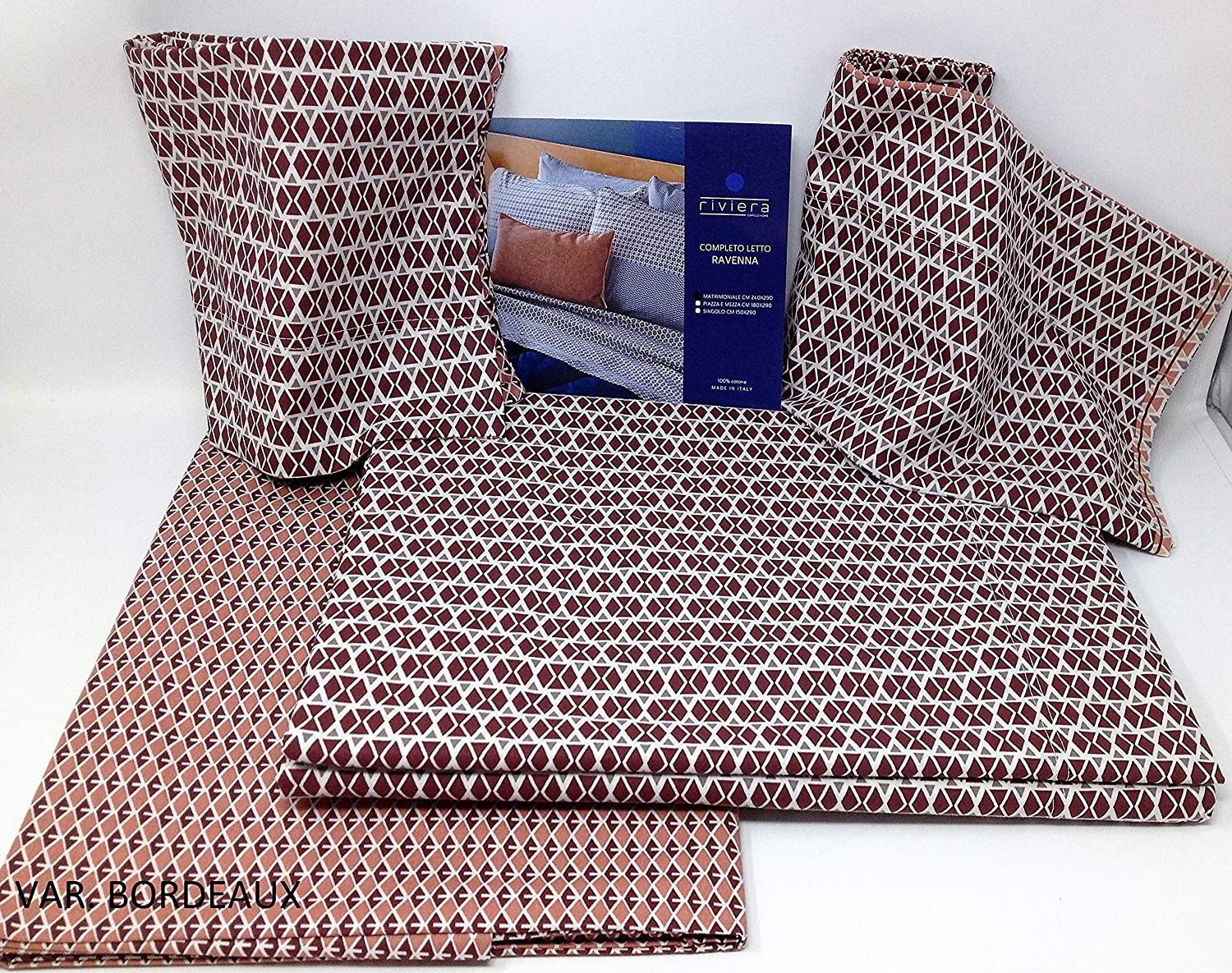 Riviera Home Collection Lenzuola.Riviera Double Bed Sheet Complete Cotton Ravenna Var Burgundy Amazon Co Uk Kitchen Home