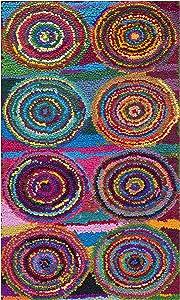 Safavieh Nantucket Collection NAN143A Handmade Abstract Geometric Pink and Multi Cotton Area Rug (2'3