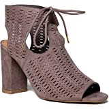 Perforated Peep Toe Ankle Tie High Heel Ankle Boot Bootie