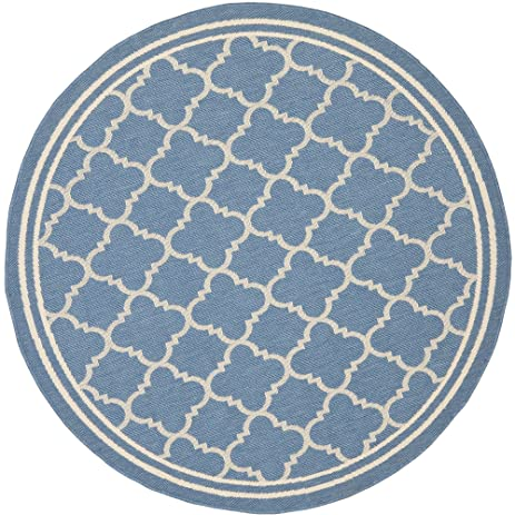 Safavieh Courtyard Collection CY6918 243 Blue And Beige Indoor/ Outdoor  Round Area Rug (
