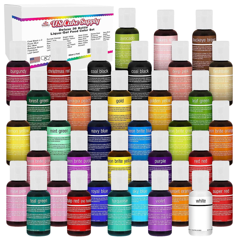 U.S. Cake Supply 36 Color Cake Food Coloring Liqua-Gel Decorating Baking Master Set of All 36 Colors - 0.75 fl. oz. (20ml) Bottles - Made in the U.S.A.