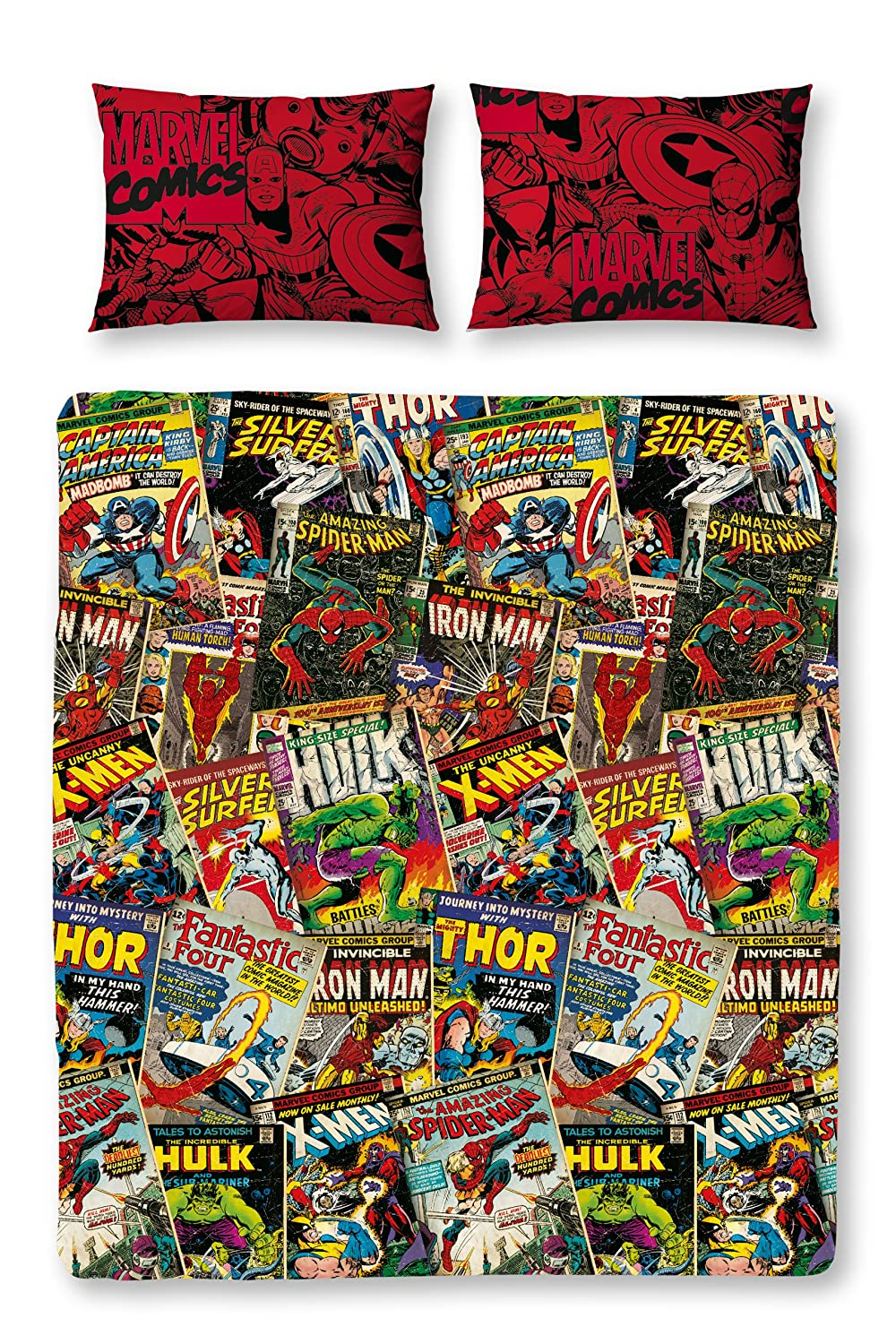 Character World Disney Marvel Comics Double Rotary Duvet Set, Multi-Color DMC-COM-MD2-MSCx-06SP