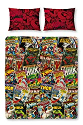 Marvel Comics 'Cover' Reversible Double Duvet Cover Character Rotary