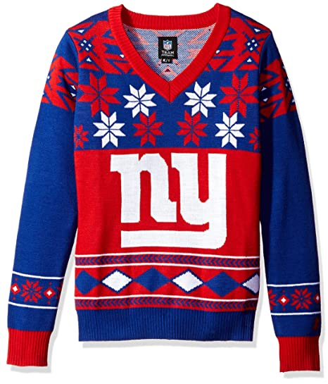 NFL Womens V-Neck Sweater, New York Giants, Medium