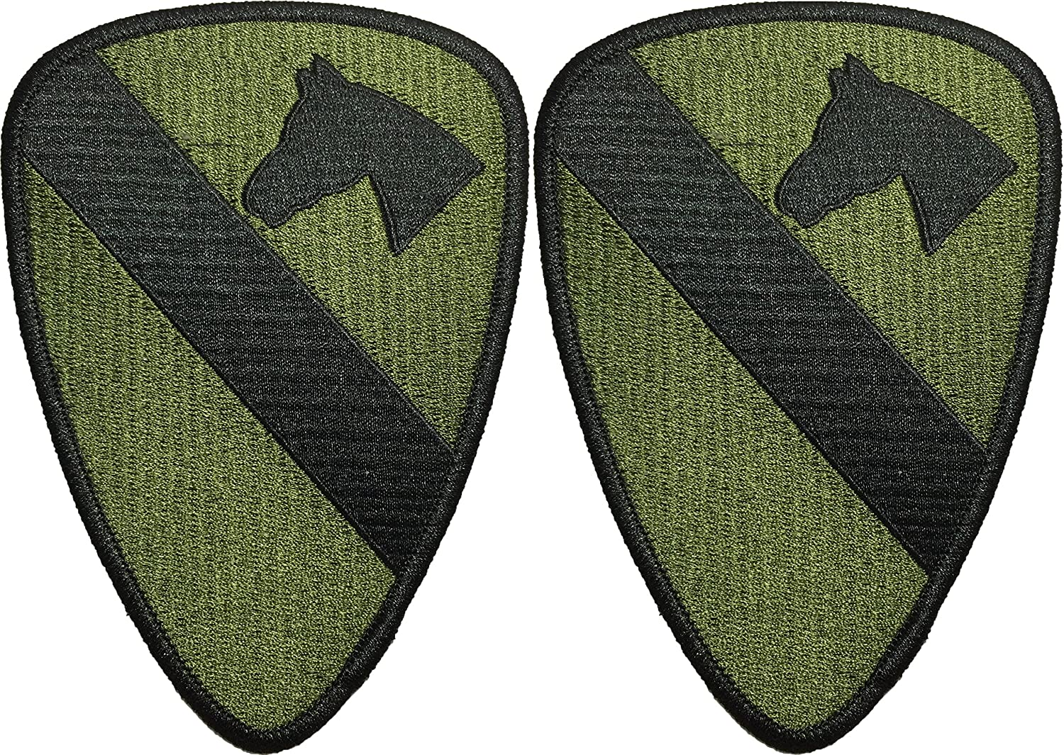 Green OD Army Tactical Vest Logo DIY Applique Embroidered Sew on Iron on Emblem Badge Costume Patch Set 2 of 1st Cavalry Horse HQ Military U.S