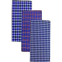 BlueMen Men's Poly Cotton Multi Color Lungi (Set of 3)