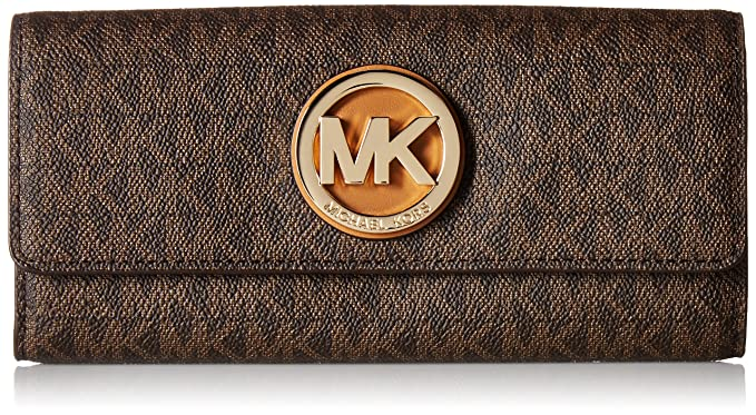 e81017447618 Michael Kors PVC Leather Fulton Flap Continental Wallet - Brown -  32S7GFTE3B-200