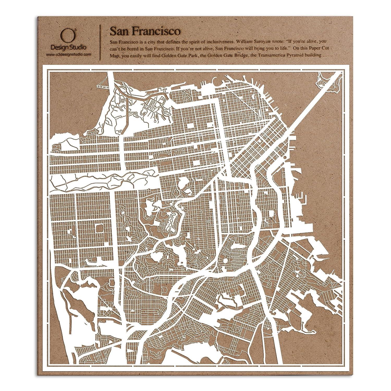 Amazoncom San Francisco Paper Cut Map By O3 Design Studio White