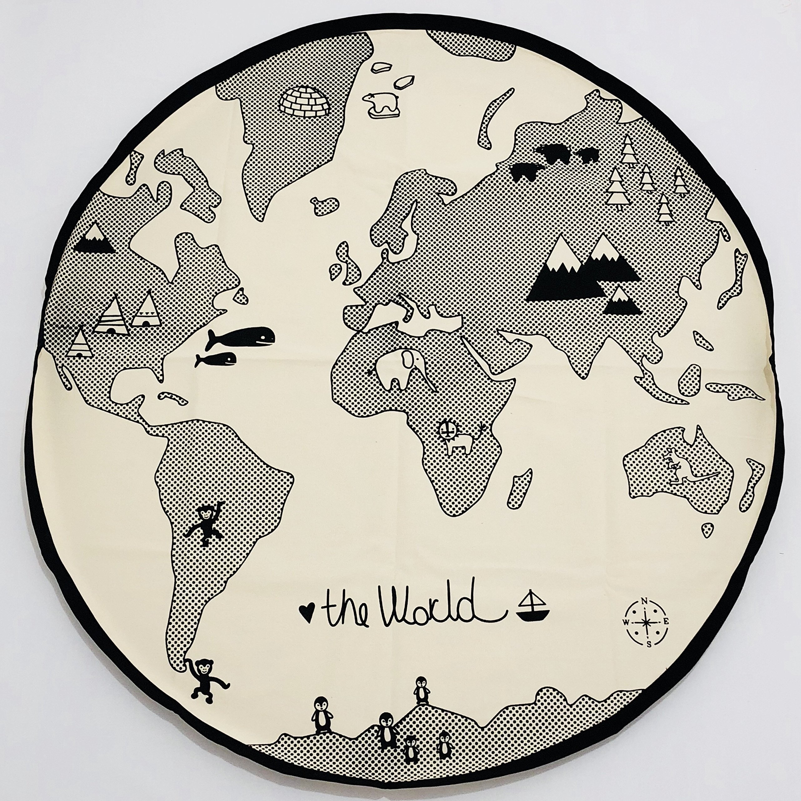 SEALOVESFLOWER Circle Creamy-White Adventure World Map Baby Earth Game Blanket Crawling Pad Children Room Decorations